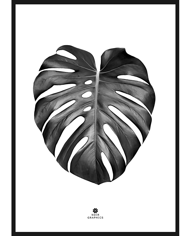 Monster Leaf Black Poster, Interartdesign.no